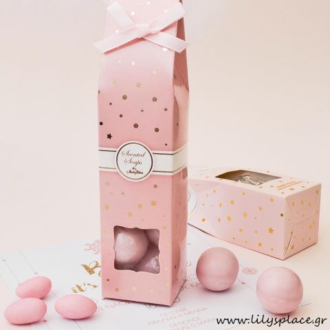 Μπομπονιέρα σαπουνάκια στρογγυλά σε κουτάκι ροζ χρυσό