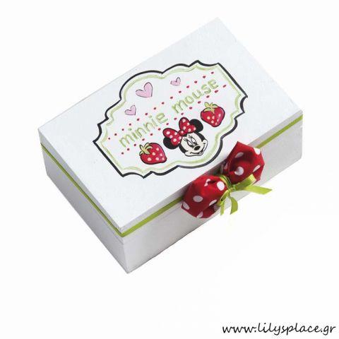 Κουτί μαρτυρικών βάπτισης με θέμα Minnie φραουλίτσα
