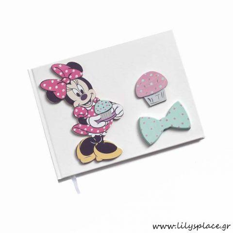 Βιβλίο ευχών βάπτισης με θέμα Minnie cupcakes