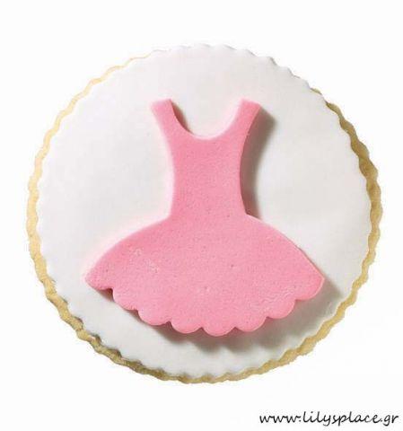 Μπισκότο βάπτισης φόρεμα μπαλαρίνας