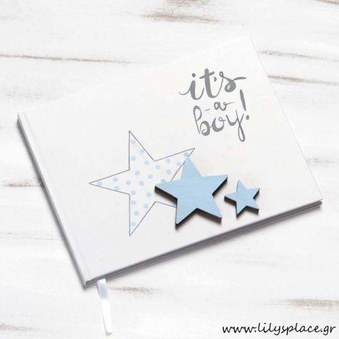 Βιβλίο ευχών βάπτισης αστέρι σιέλ