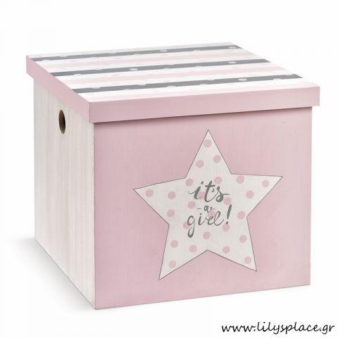 Κουτί βάπτισης με θέμα αστέρι ροζ