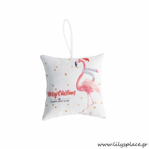 Χριστουγεννιάτικο μαξιλαράκι με flamingo