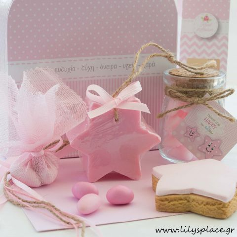 Μπομπονιέρα βάπτισης σαπουνάκι αστέρι ροζ